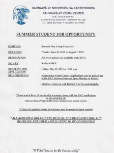 Kahnawake Youth Center 2015 Summer Student Job Posting