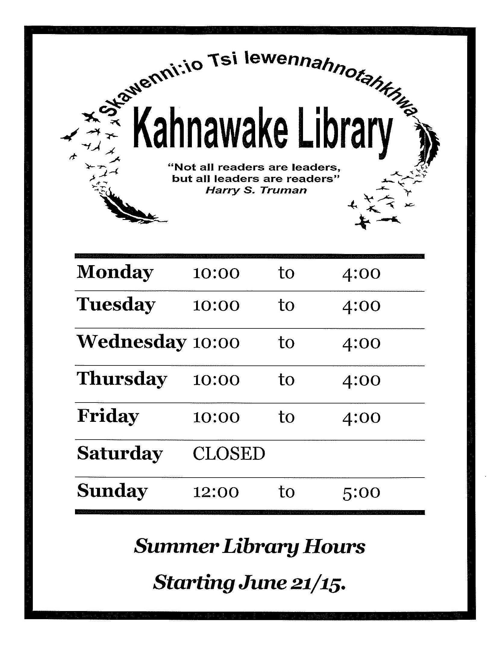 2015 Kahnawake Library Summer Hours